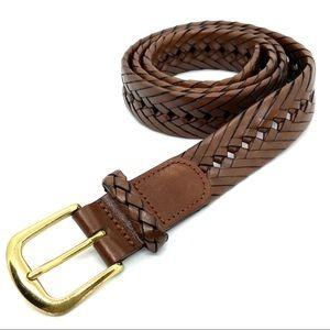 LL Bean Braided Leather Belt 36 Brass Buckle Brown